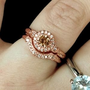 Round Morganite Halo Crescent Crown Rose Gold Ring